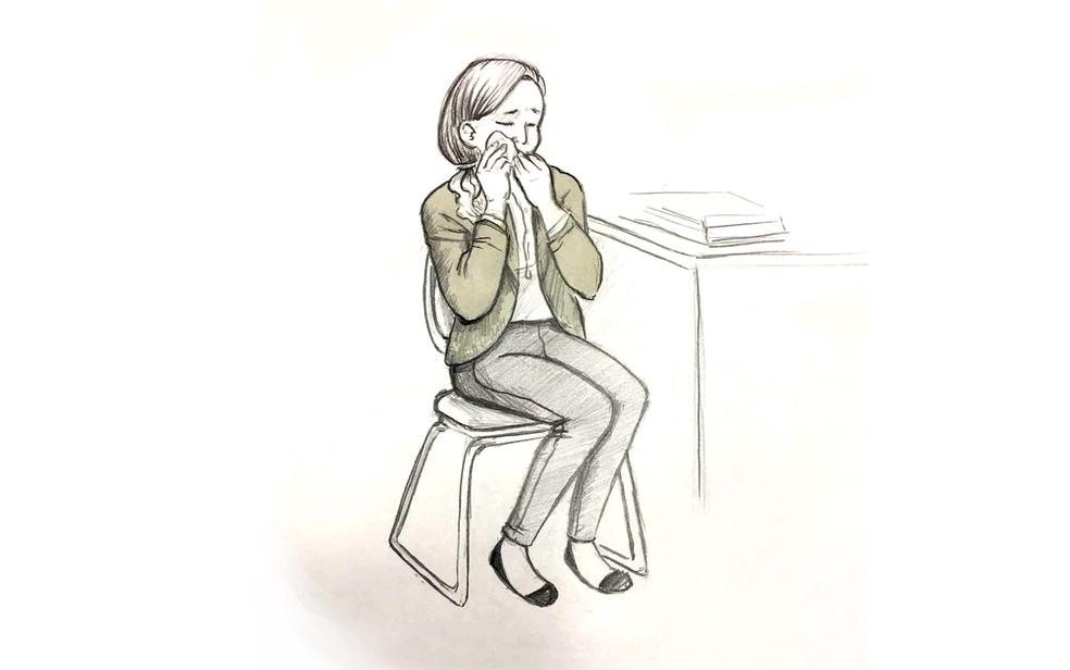 Ilustração mostra Elize Matsunaga chorando durante julgamento em São Paulo (Foto: Roberta Jaworski/Editoria de Arte/G1)