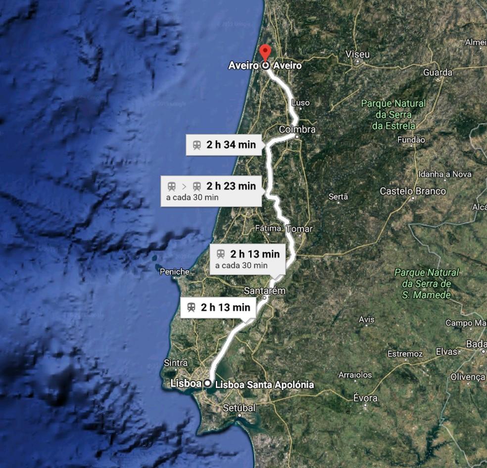 Trajeto de Aveiro a Lisboa de trem — Foto: Reprodução/ Google Maps
