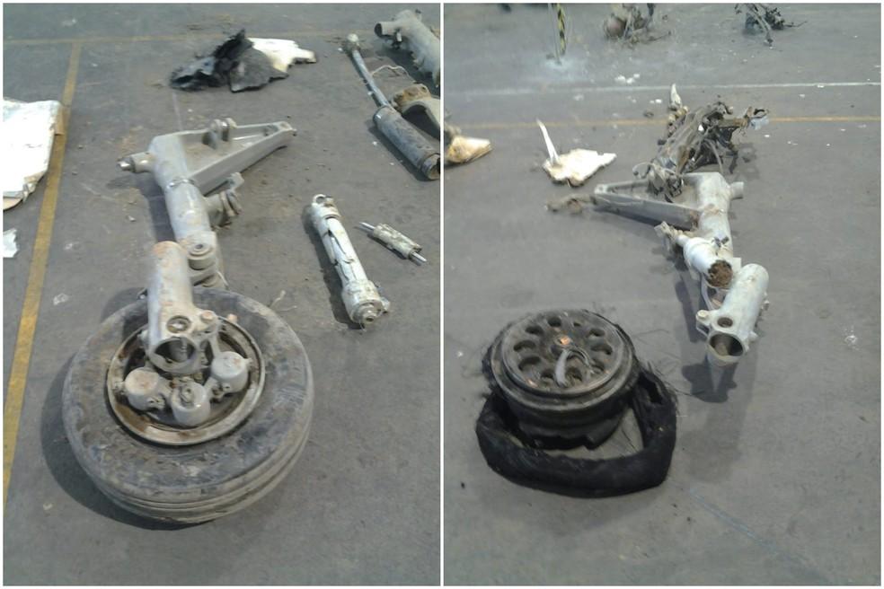 Peças de avião que caiu em Santos, SP, foram recolhidas para perícia — Foto: Arquivo Pessoal