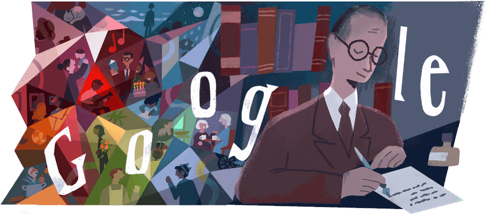 Doodle do Google homenageia o poeta mineiro Carlos Drummond de Andrade — Foto: Reprodução/Google