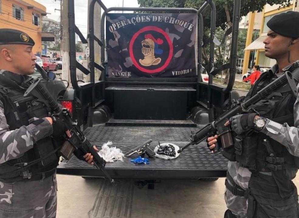 Material apreendido durante operação foi encaminhado para a 126ª DP — Foto: Divulgação/PM
