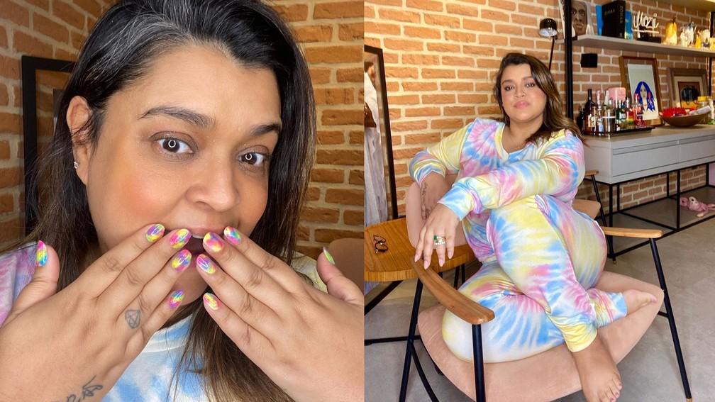 Preta Gil: unha também entrou na onda tie-dye — Foto: Reprodução/Instagram