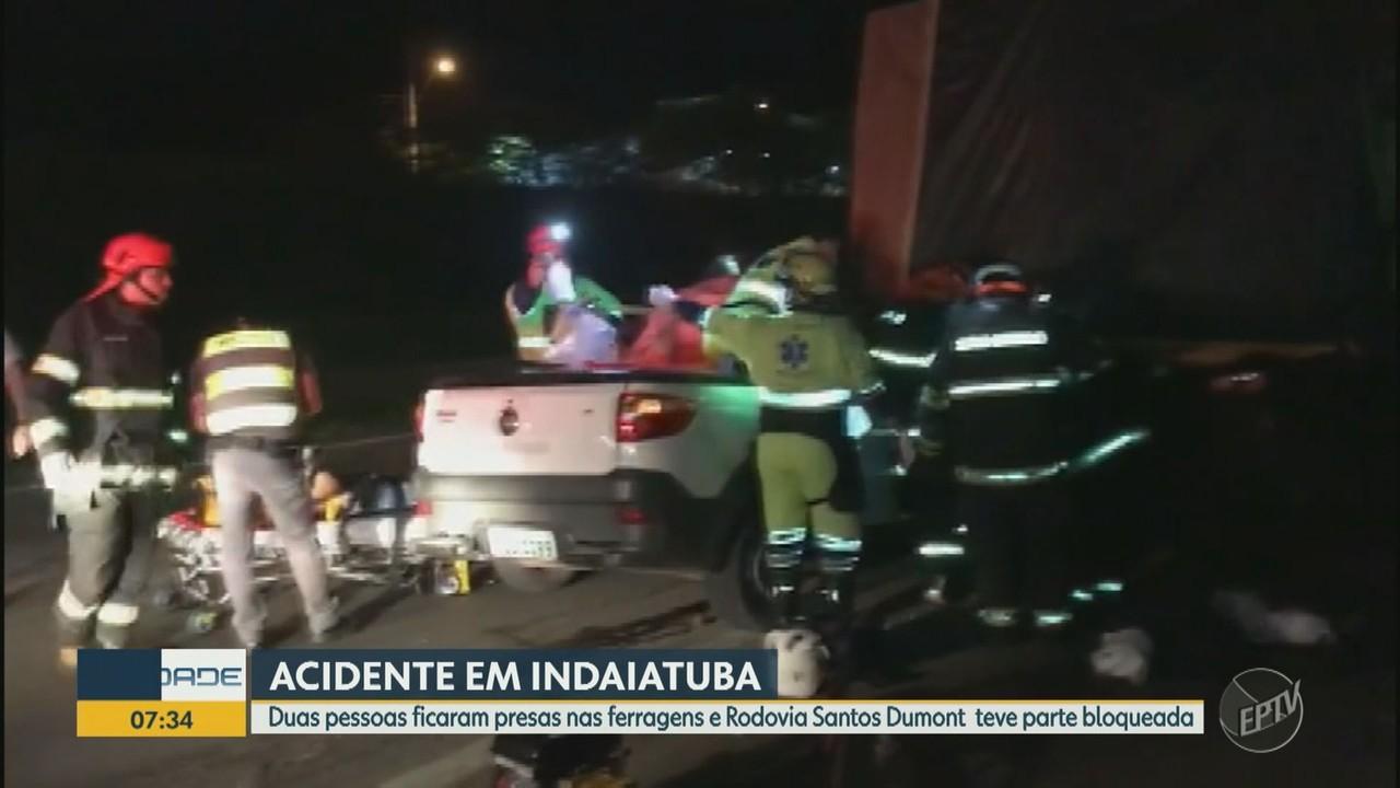 Acidente em Indaiatuba interdita trecho da Santos Dumont e deixa duas pessoas feridas