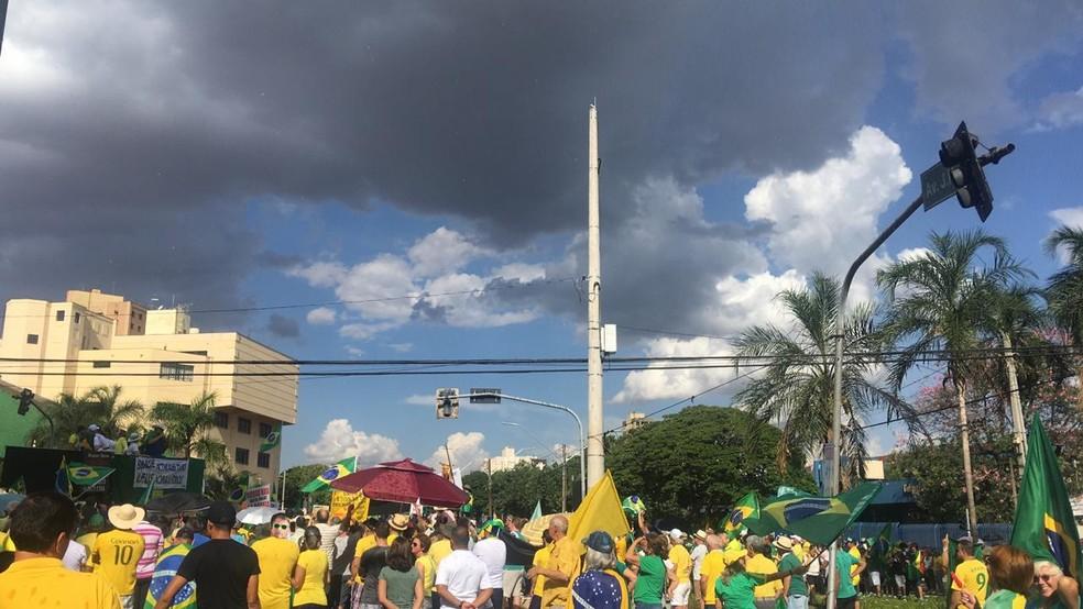Protesto em Londrina a favor do governo — Foto: Taiane Vieira/RPC