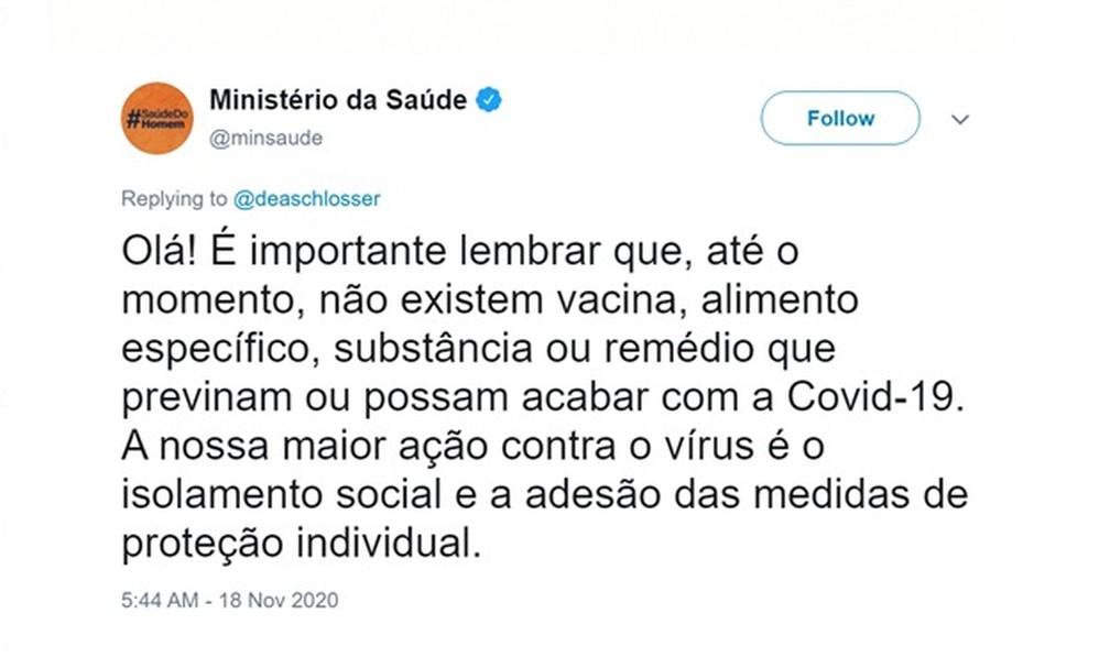 Postagem do Ministério da Saúde que foi apagada dizia que não há remédios contra a Covid-19 e que o isolamento é a maior prevenção — Foto: Reprodução