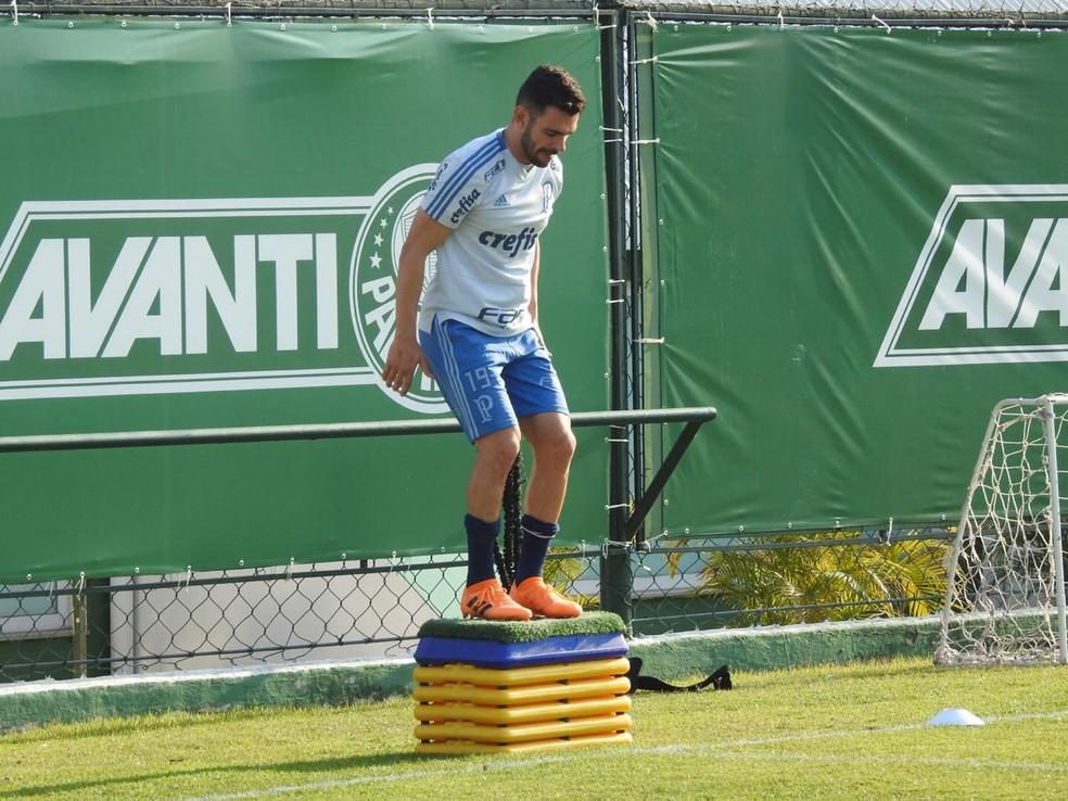 Bruno Henrique, em treino do Palmeiras — Foto: Tossiro Neto