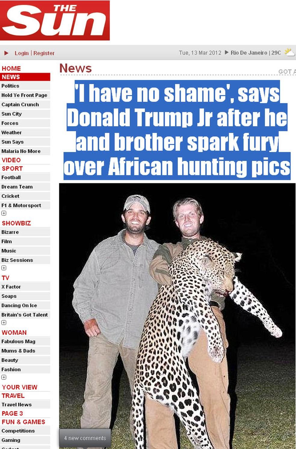 Os irmãos Trump, filhos do empresário norte-americano Donald Trump, em foto tirada com corpo de leopardo. Paixão pela caça provocou ira de organizações ambientais. (Foto: Reprodução)