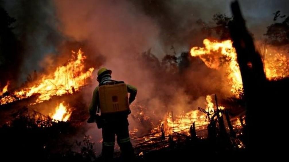 Fogo e desmatamento na Amazônia causam preocupação em todo o mundo. — Foto: Reuters via BBC