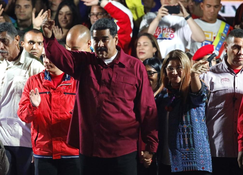 Nicolás Maduro, logo após o anúncio de vitória nas eleições deste domingo (20) (Foto: REUTERS/Carlos Garcia Rawlins)