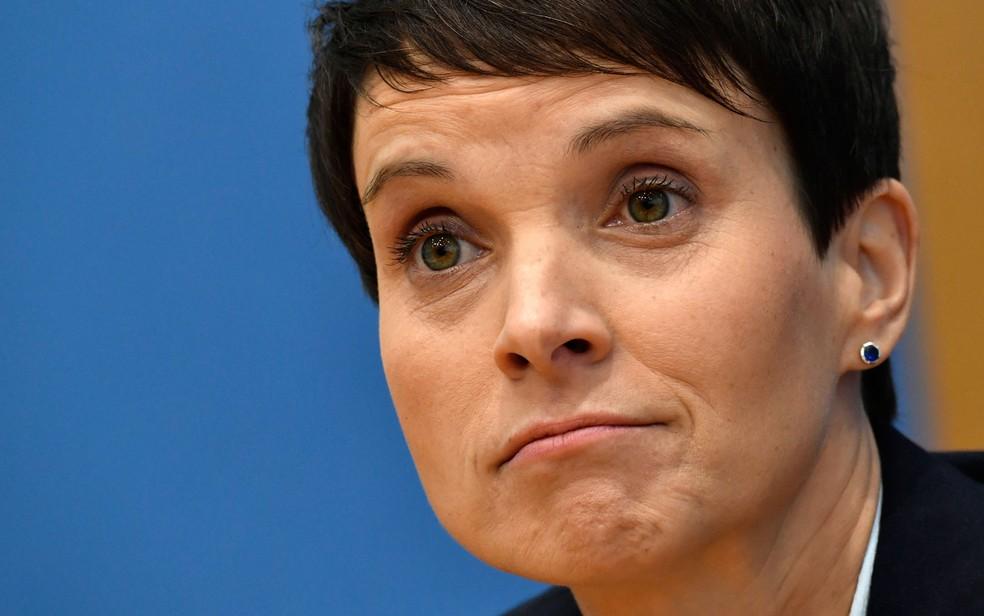 A ex-líder do AfD, Frauke Petry, em foto de 25 de setembro (Foto:  John MacDougall/AFP)