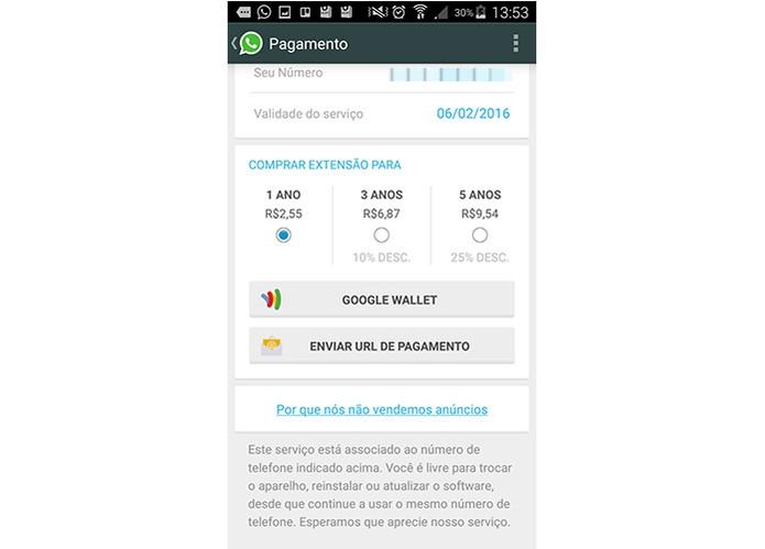 WhatsApp cobra apenas valor único para novos usuários (Foto: Reprodução/Barbara Mannara)