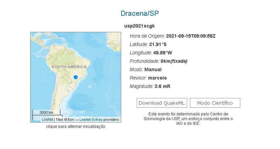 Tremor de terra em Guaimbê (SP) foi registrado pelo Centro de Sismologia da USP; magnitude foi de 3.6, com epicentro em Dracena (SP) — Foto: Reprodução