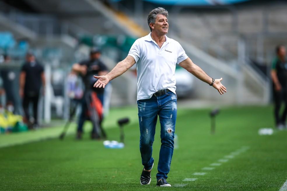 Técnico Renato Portaluppi em Grêmio 2x1 Goiás — Foto: Lucas Uebel/DVG/Grêmio