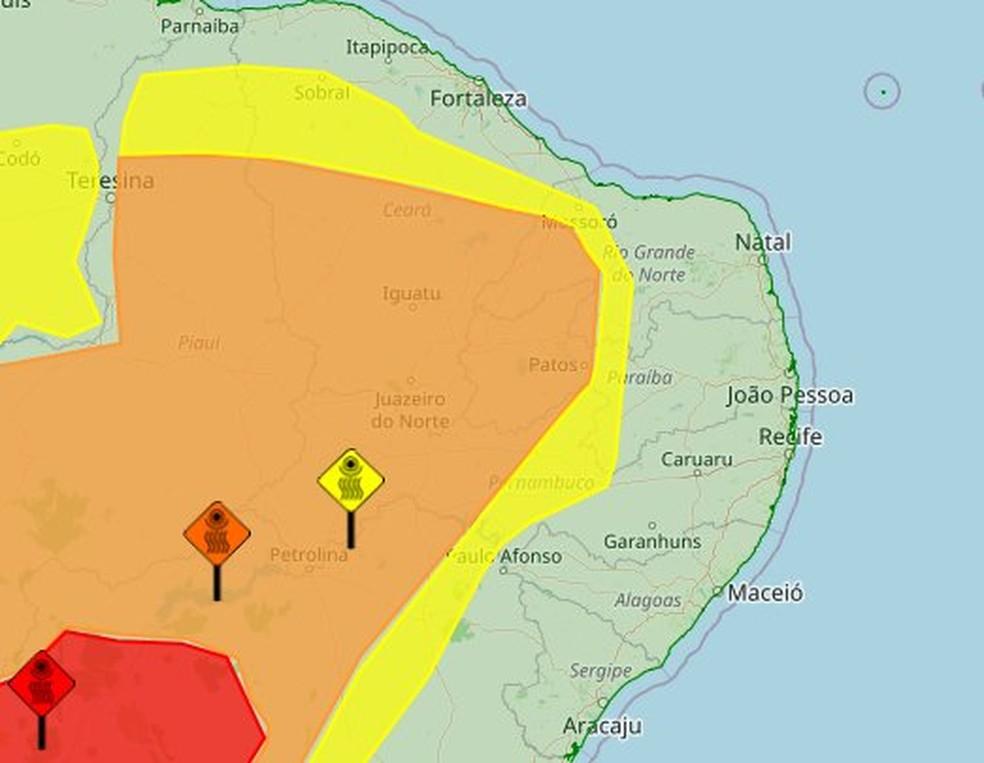 Inmet emite alertas de baixa umidade para 103 municípios da Paraíba — Foto: Inmet/Reprodução