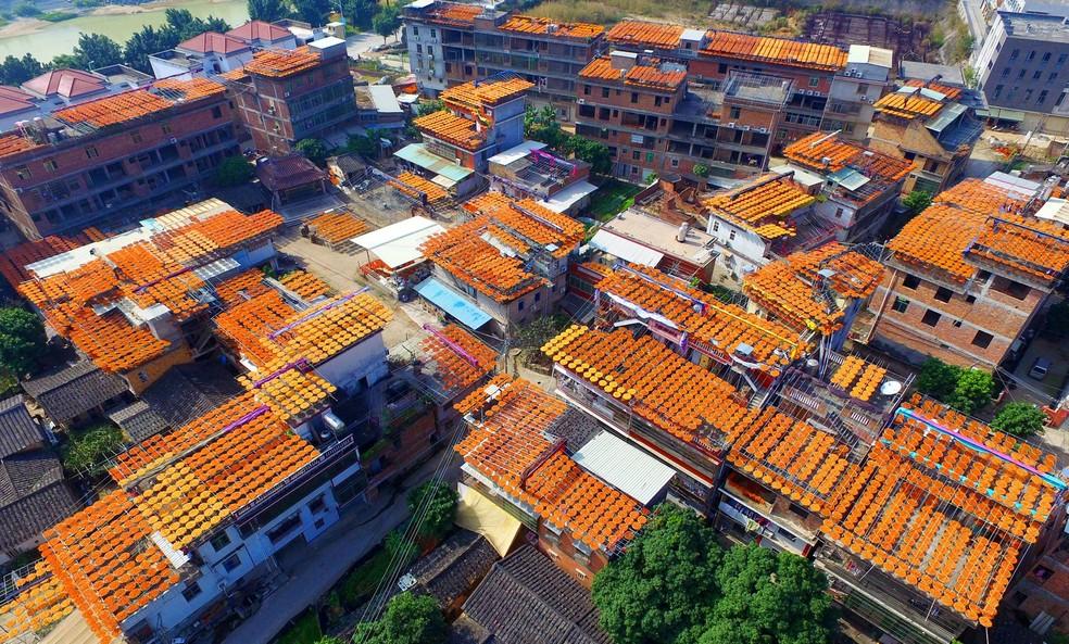 Produtores colocaram caquis para secar nos telhados e criaram visual inusitado (Foto: Reuters)