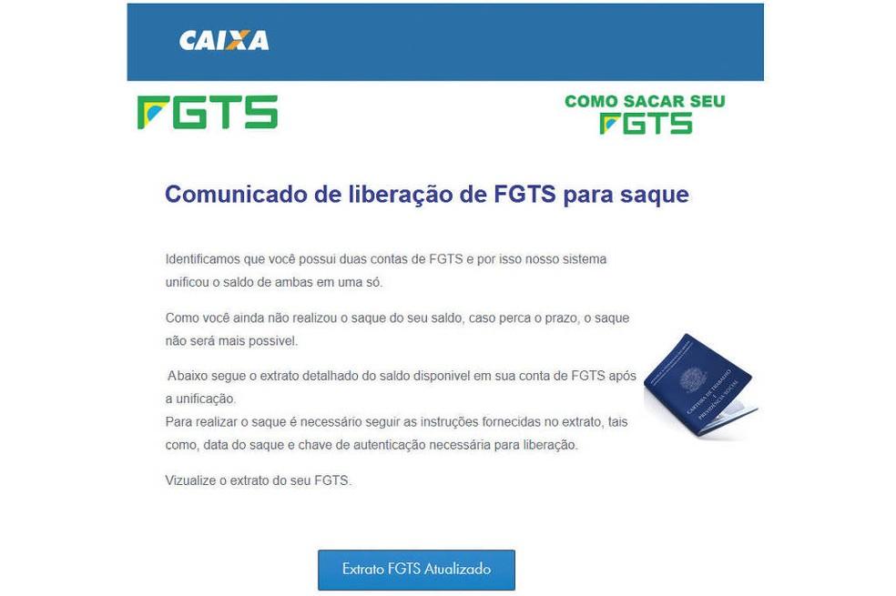 Golpe do FGTS — Foto: WhatsApp/Reprodução