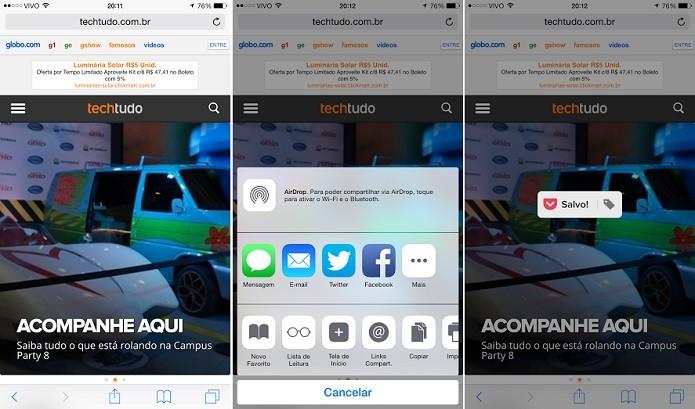 Selecione o app e compartilhe o conteúdo nele (Foto: Reprodução/Thiago Barros)