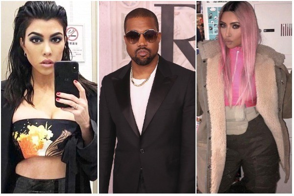 Kourtney Kardashian, Kanye West e Kim Kardashian (Foto: Instagram / Getty Images)