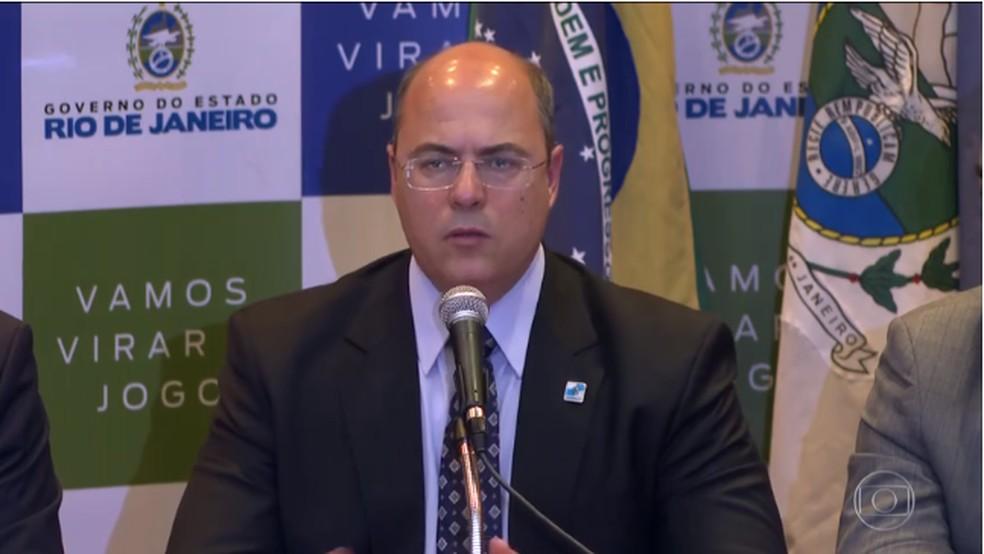 Governador do Rio, Wilson Witzel, defende estratégia de segurança no RJ — Foto: Reprodução/TV Globo