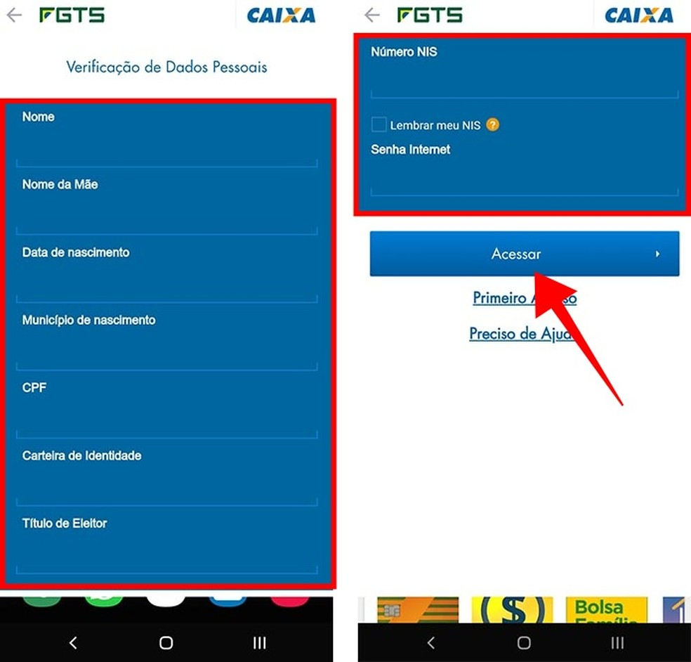 Informe dados pessoais e faça login no FGTS 2019 com uma senha — Foto: Reprodução/Paulo Alves