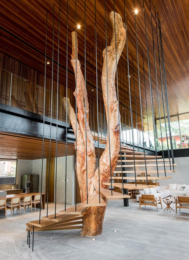 O tronco transformado em escada, que liga os dois pavimentos da casa, tem quase 7 metros de altura (Foto: André Godoy/Divulgação)
