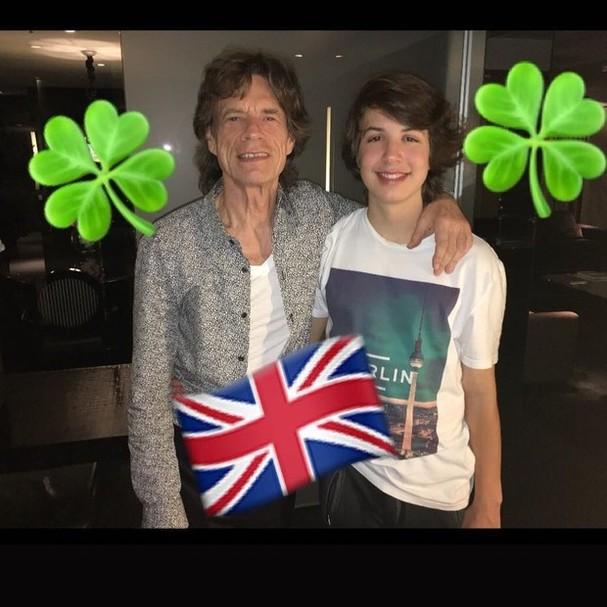 Mick Jagger e Lucas (Foto: Reprodução Instagram)