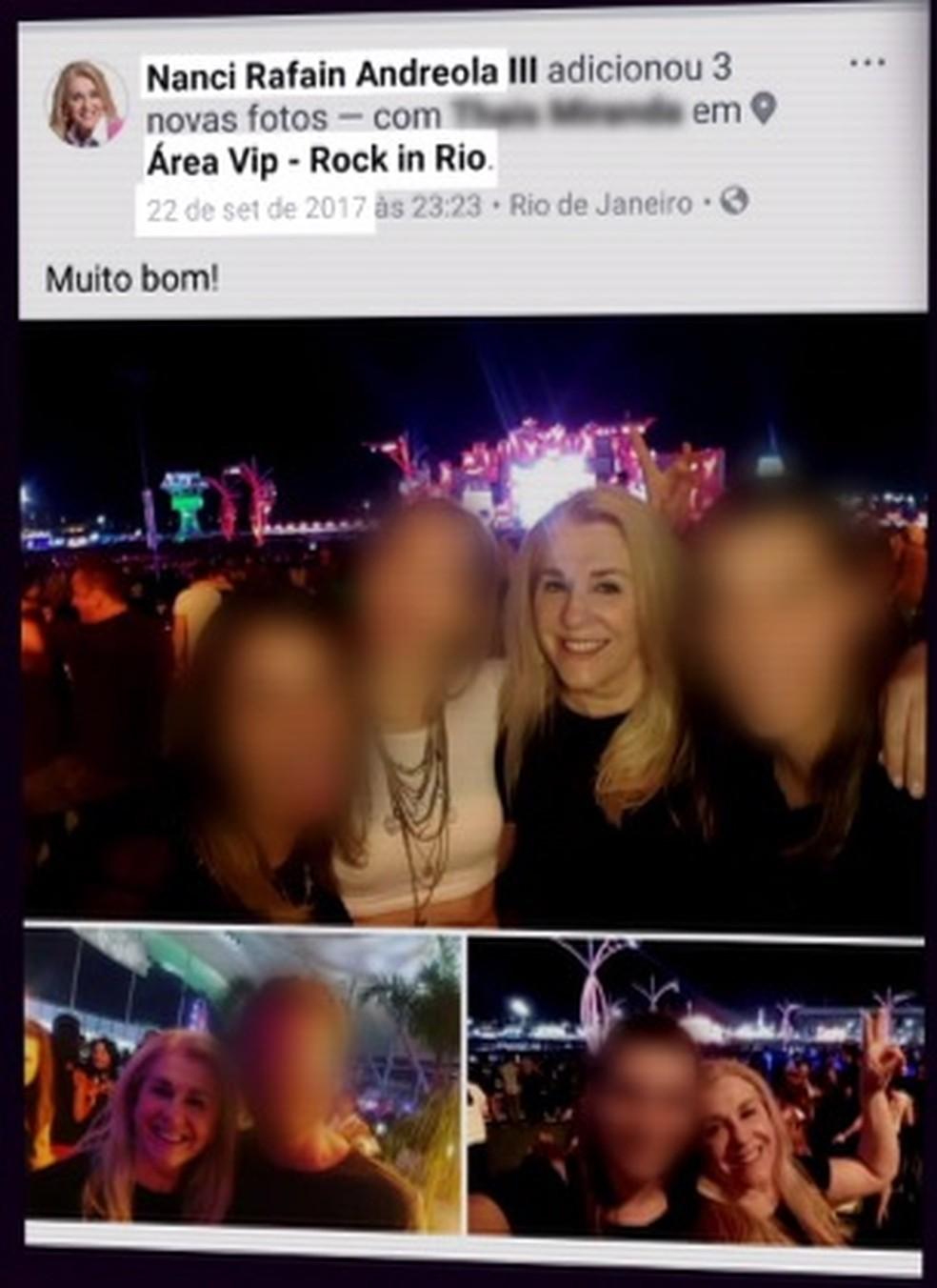 Nanci Andreola postou fotos nas redes sociais do dia em que esteve no Rock in Rio (Foto: Reprodução/Facebook)