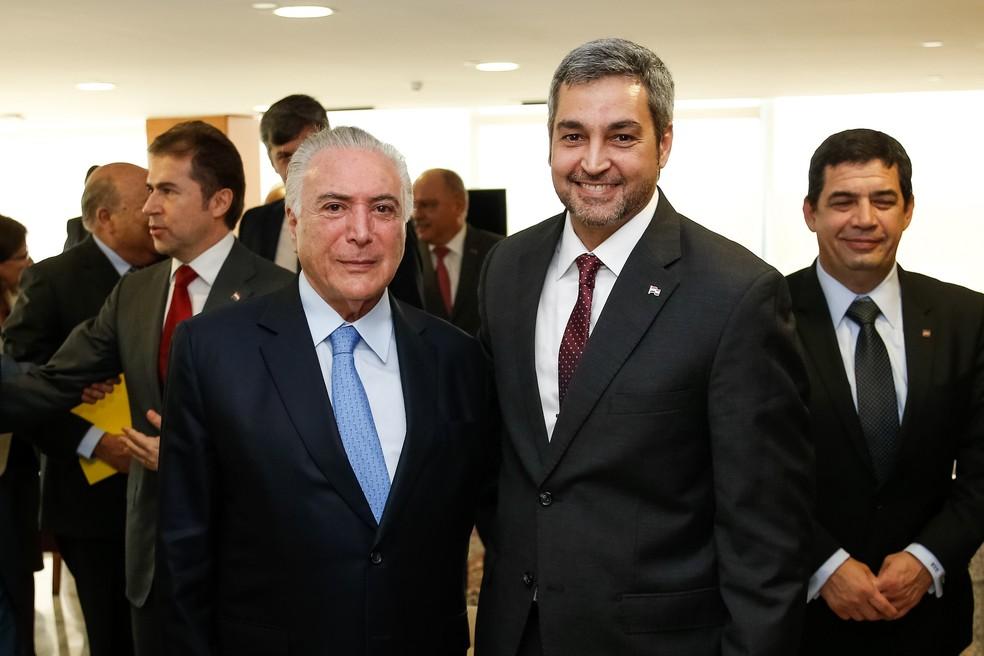 O presidente Michel Temer e Mario Benítez em junho, no Palácio do Planalto, durante visita do paraguaio ao Brasil (Foto: Cesar Itiberê/PR)