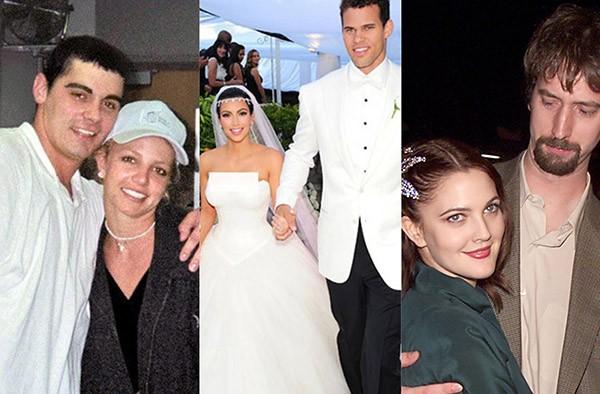 Britney Spears e James Alexander, Kim Kardashian e Kris Humphries, Drew Barrymore e Tom Green (Foto: Getty Images)