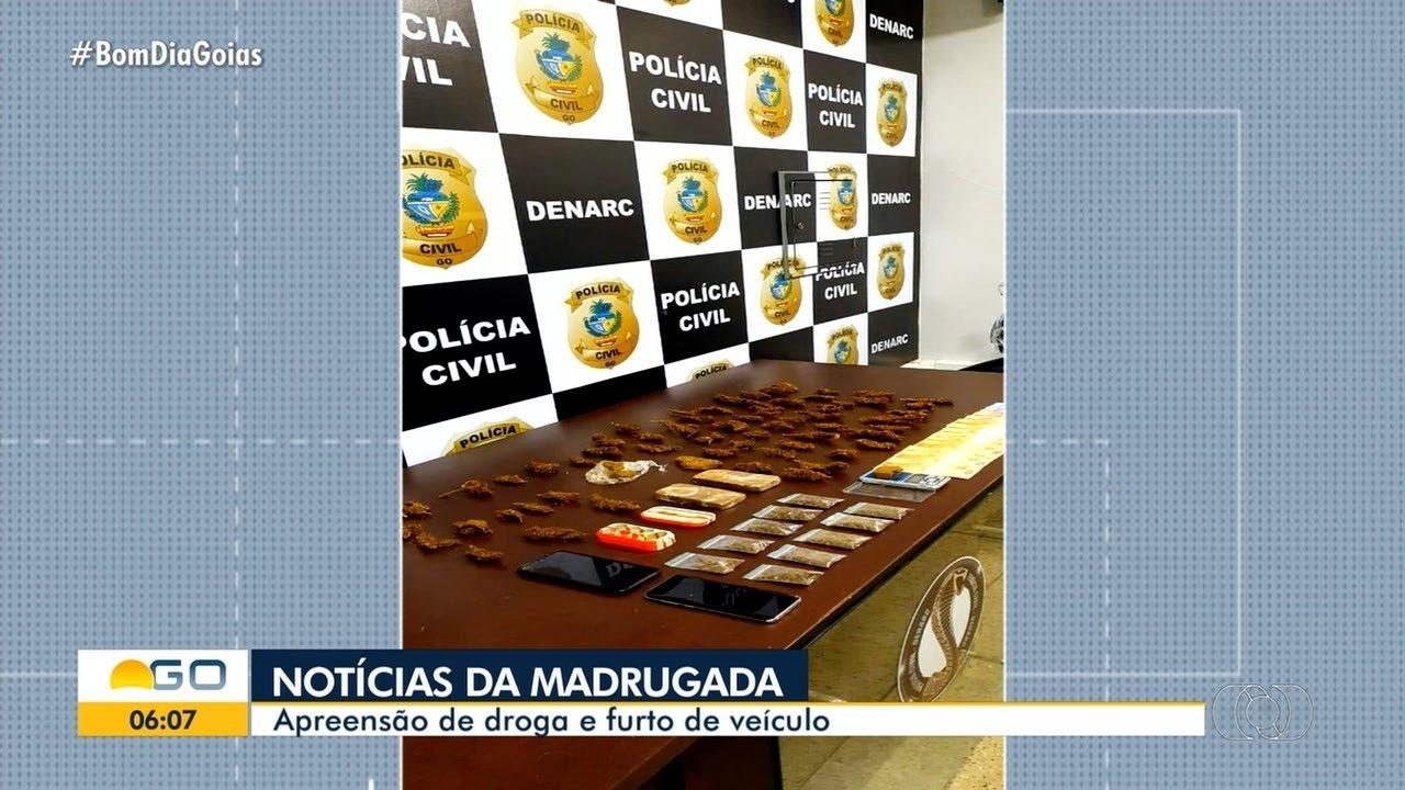 Madrugada movimentada tem apreensão de drogas e furto de carro em Goiânia