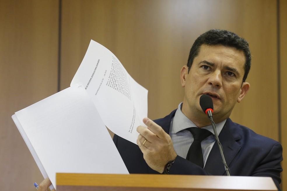 O ministro da Justiça e Segurança Pública, Sérgio Moro, apresenta projeto de lei anticrime — Foto: Dida Sampaio/Estadão Conteúdo