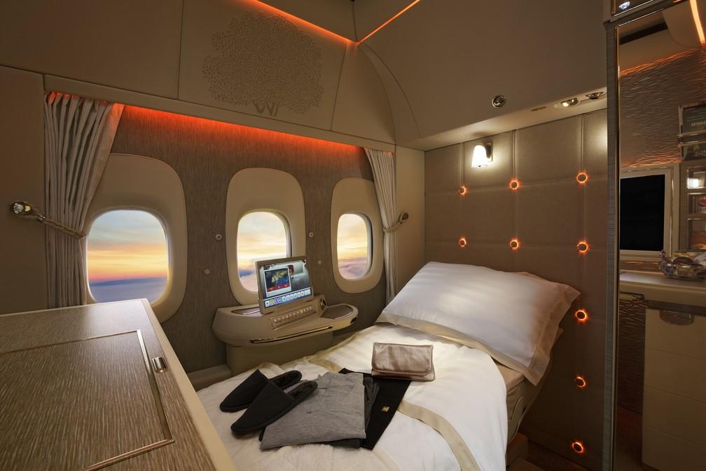 Nova configuração da primeira classe das aeronaves Boeing 777 da Emirates (Foto: Divulgação/Emirates)