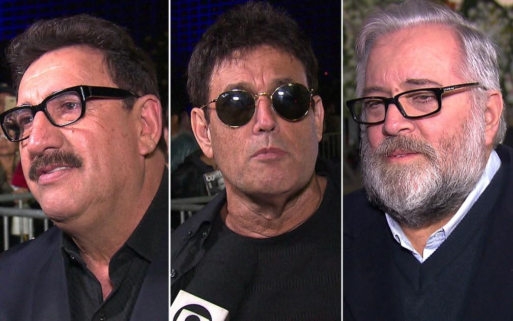 Ratinho, Sergio Mallandro e Leão Lobo falam em velório de Gugu Liberato — Foto: TV Globo/Reprodução