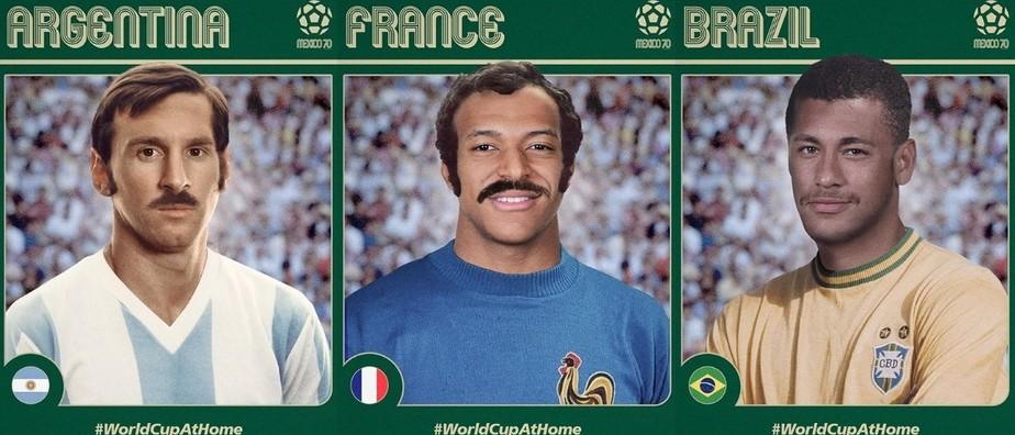 Fifa põe bigode em Neymar, Messi e Mbappé na celebração dos 50 anos da Copa de 1970