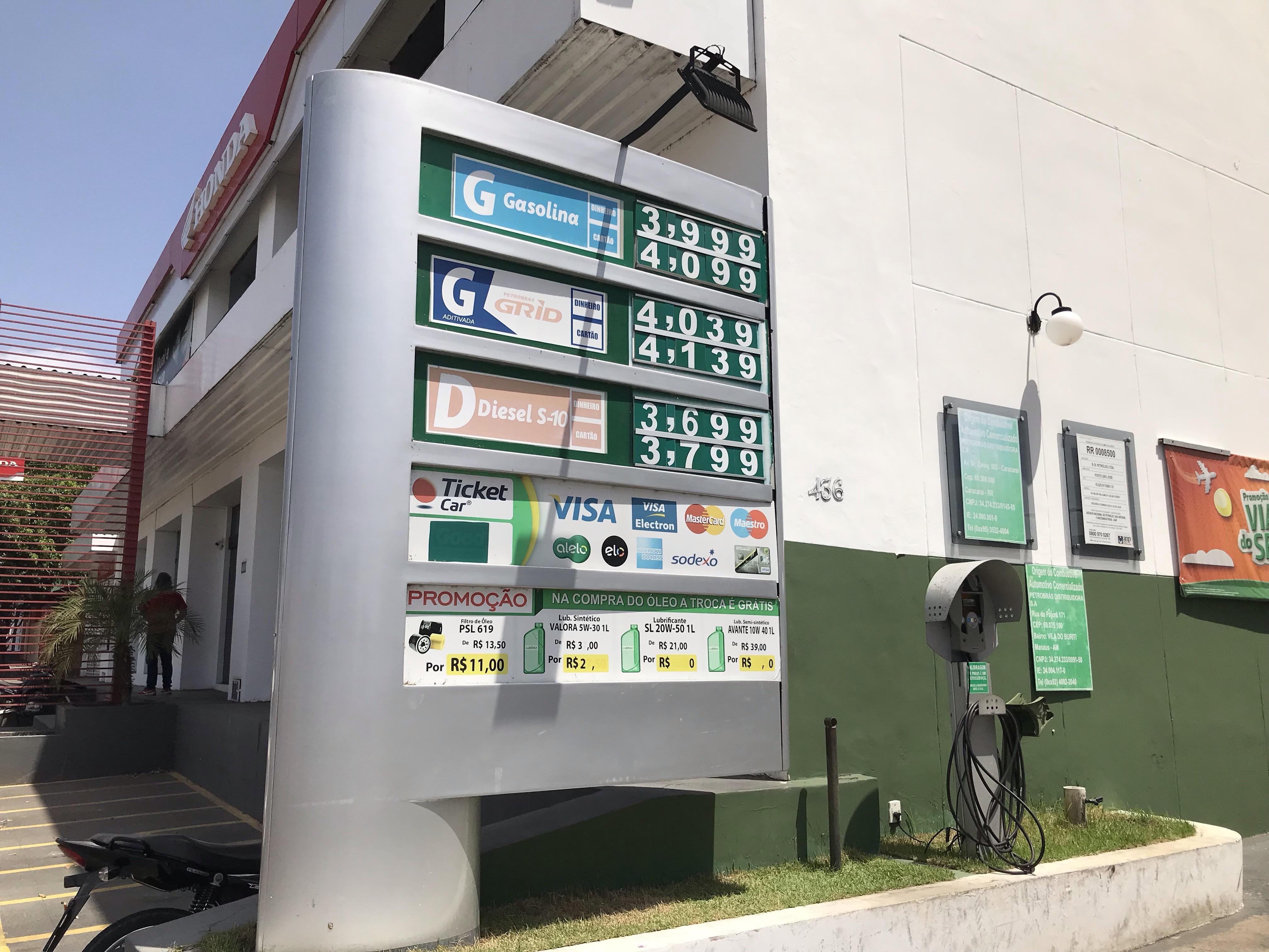 Gasolina chega a R$ 4,09 em Boa Vista após 7º reajuste seguido nas refinarias   - Noticias