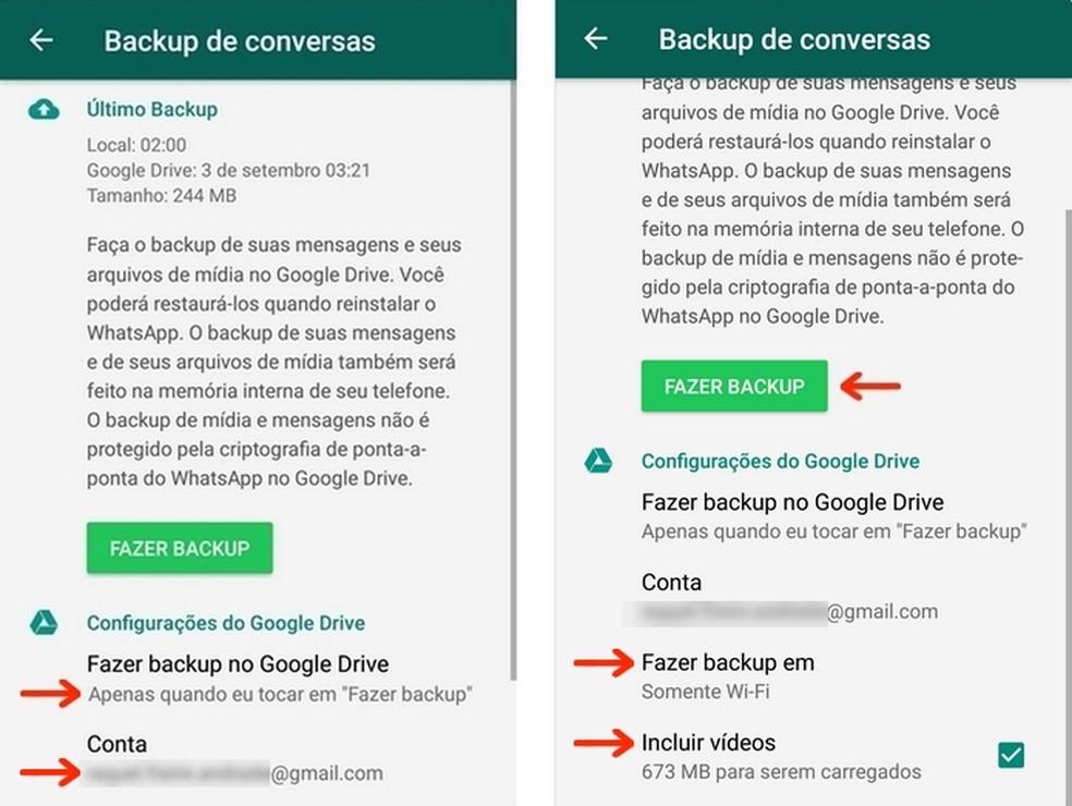 Configurações de backup das conversas do WhatsApp no Google Drive — Foto: Reprodução/Raquel Freire