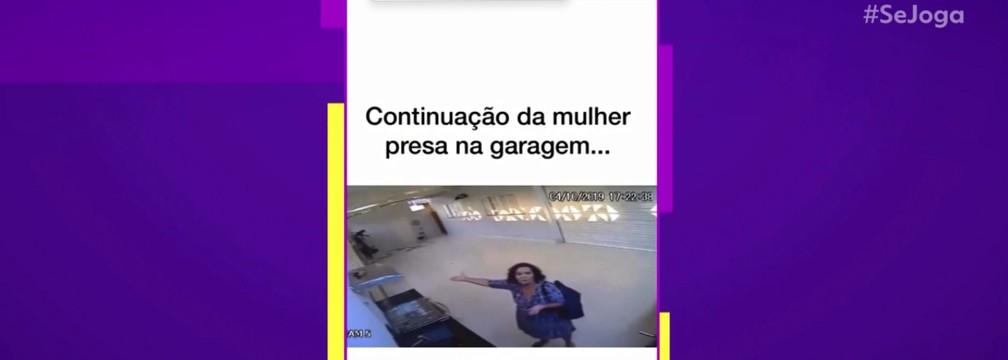 Marilene conversou com as câmeras da garagem para pedir ajuda — Foto: TV Globo