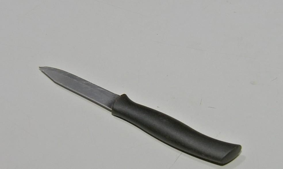 Faca usada por mulher para golpear namorado foi apreendida — Foto: TVCA/Reprodução