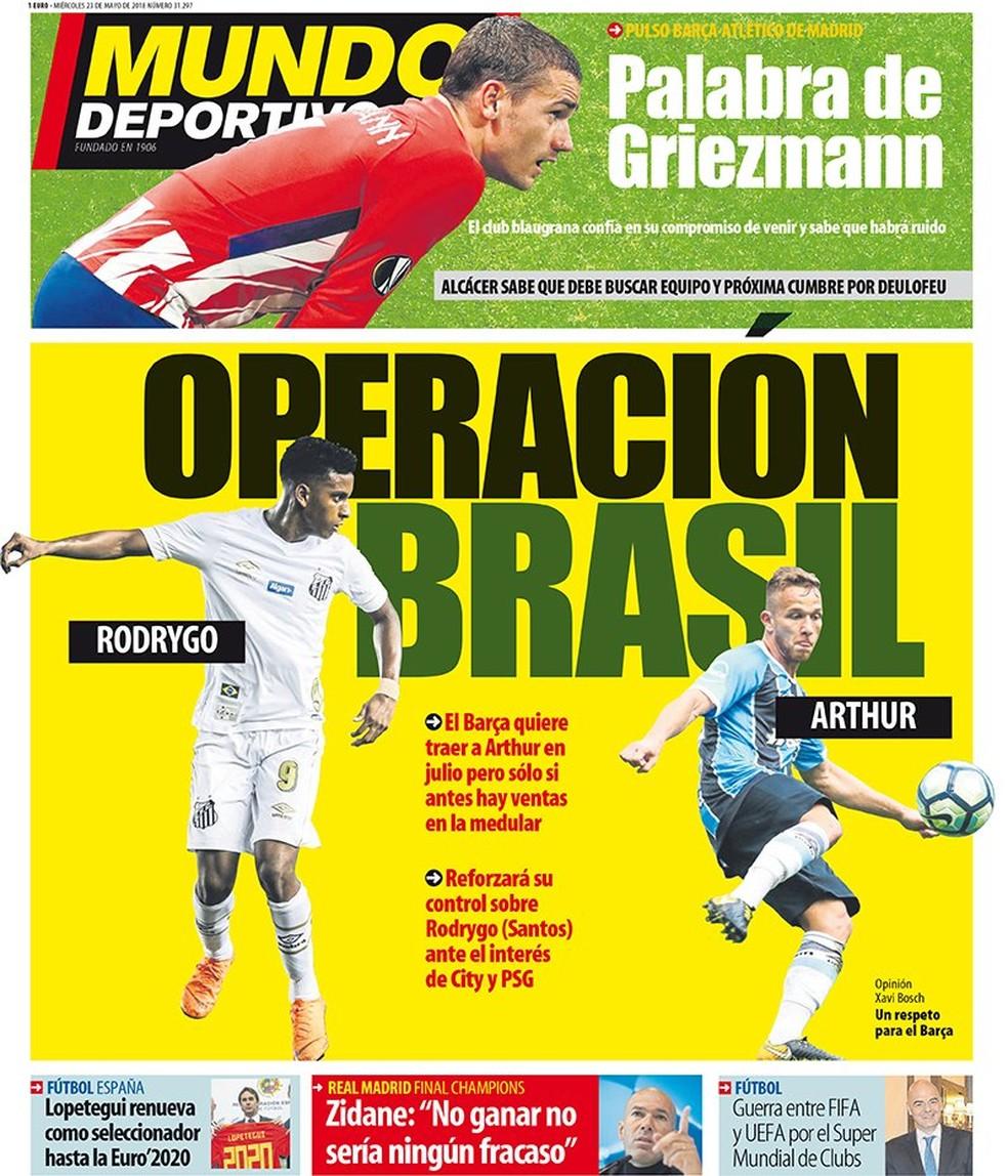 Mundo Deprotivo noticia intenção do Barça de antecipar chegada de Arthur (Foto: Divulgação)