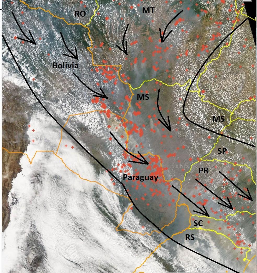 Imagem de satélite e direção dos ventos mostram trajeto da fumaça das queimadas da Amazônia — Foto: Inpe/Divulgação