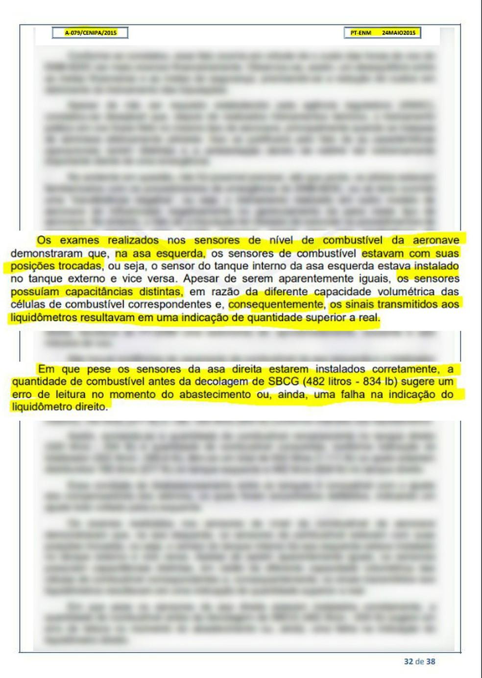 Relatório da Cenipa aponta problemas mecânicos em aeronave que fez pouso forçado em MS — Foto: Cenipa/Divulgação