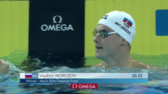 Cesar Cielo não melhora tempo e termina em sétimo nos 50m livre do Mundial; Morozov leva o ouro