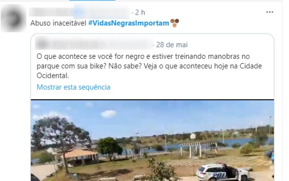 Ciclista negro abordado por PMs com armas apontadas se sentiu constrangido em parque em Cidade Ocidental, Goiás — Foto: Reprodução/Twitter