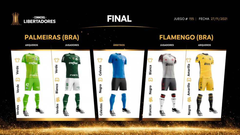 Uniformes de Palmeiras x Flamengo na final da Libertadores — Foto: Conmebol