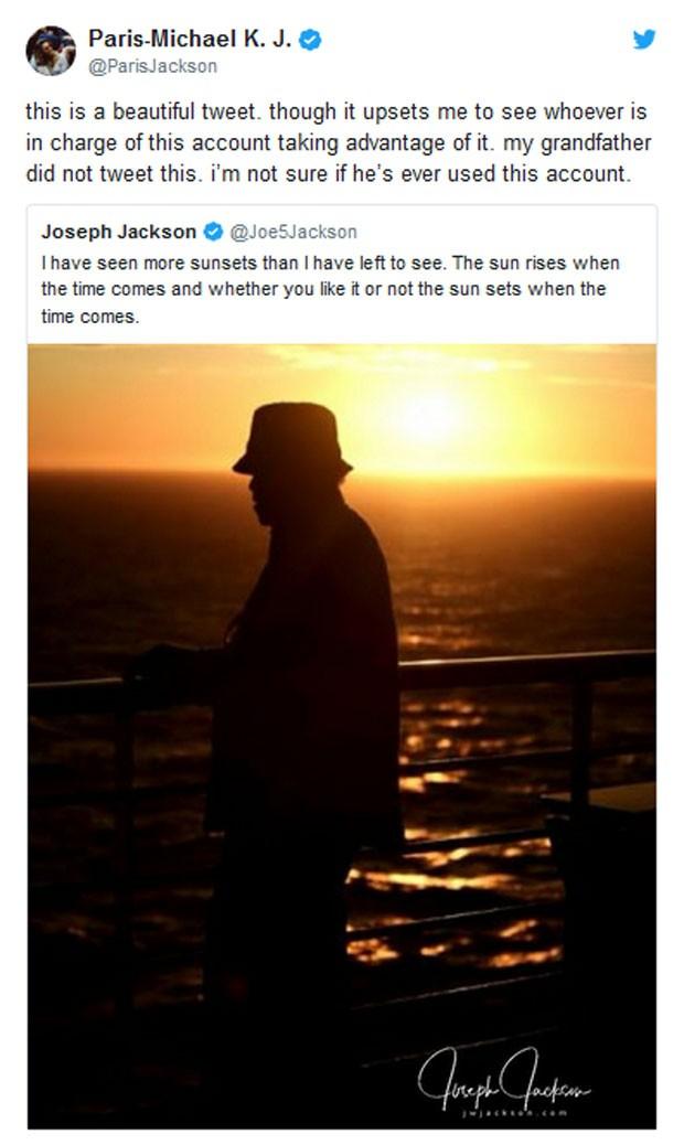 Paris Jackson critica post do Twitter do avô (Foto: Reprodução)