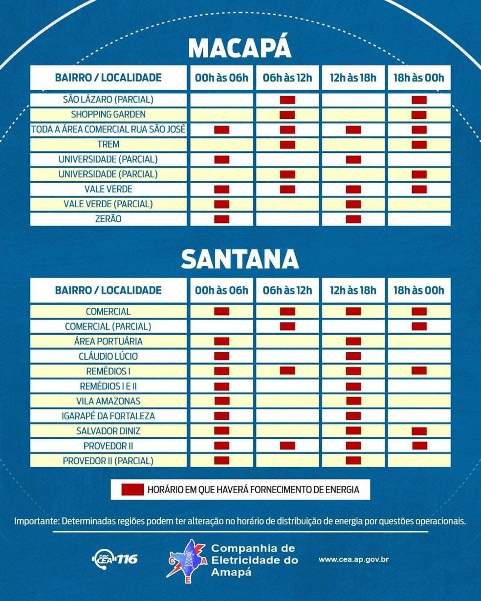 Amapá - cronograma de rodízio - Macapá 4 e Santana 1 — Foto: CEA/Divulgação