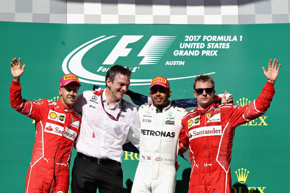 O pódio do GP dos EUA de 2017 (Foto: Getty Images)