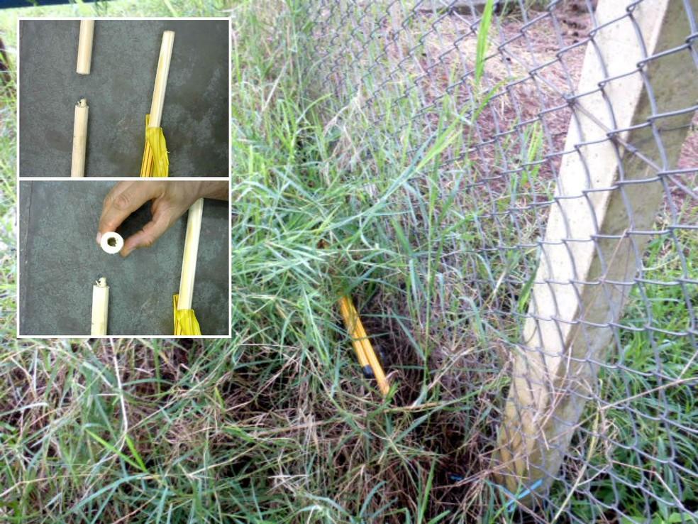 Outros cabos de vassoura foram achados próximo ao alambrado do CDP. No detalhe, o método usado para esconder a droga (Foto: SAP/Divulgação)