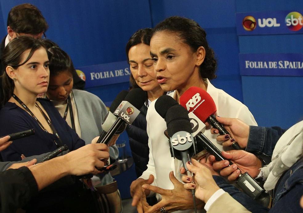 A candidata Marina Silva em entrevista em São Paulo, após sabatina promovida pela Folha, UOL e SBT (Foto: Renato S. Cerqueira/Futura Press/Estadão Conteúdo)