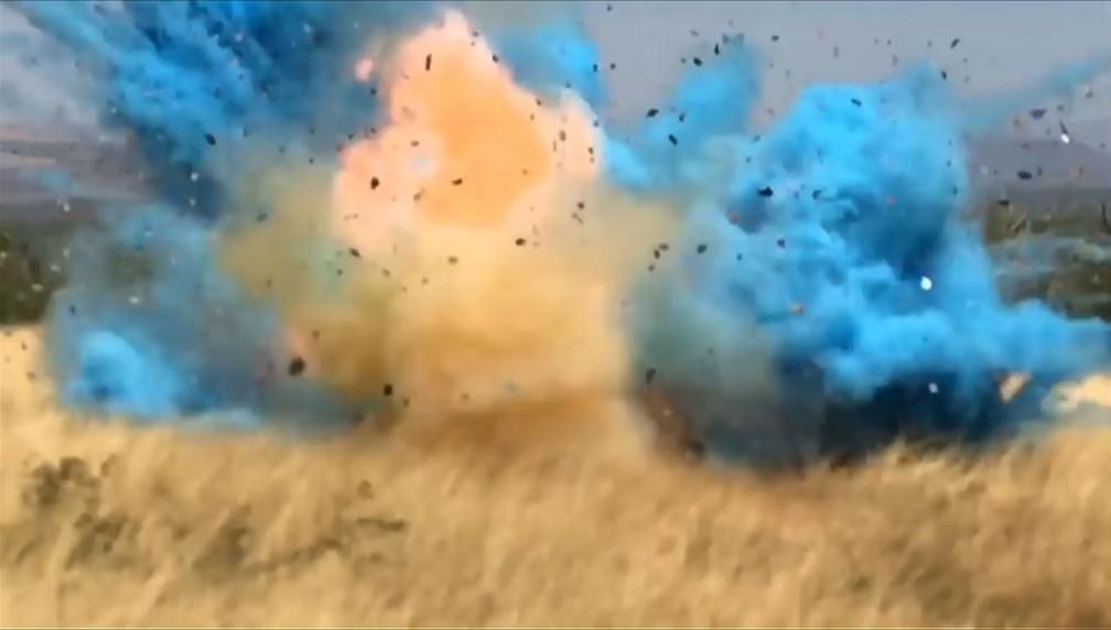 Ideia era revelar o sexo do bebê ao disparar contra um alvo que explodiria uma fumaça azul, indicando que seria um menino — Foto: AFP PHOTO / US Forest Service